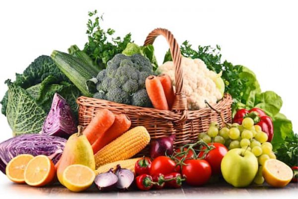 Large basket of fruit and vegetables from fruit n vegies r us perth
